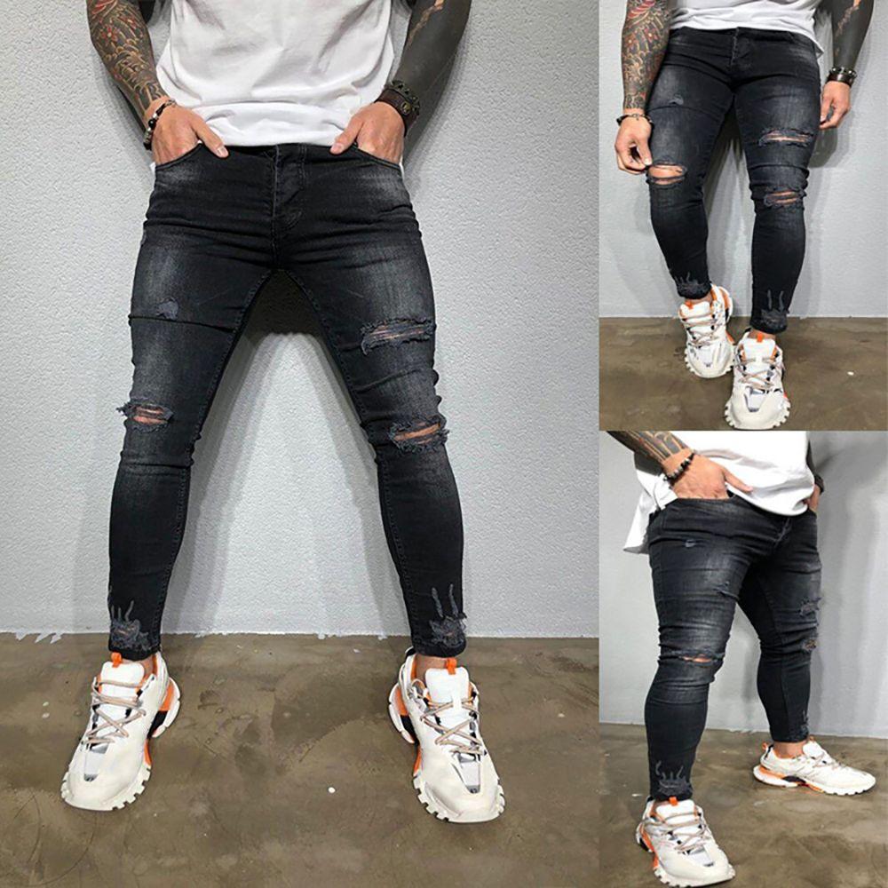 Карандаш Брюки Тонкий Мужчины Брюки повседневные узкие джинсы Мужчины готические Джинсовые брюки джинсы Разорванные Мужские джинсы Summer Hole Брюки Ковбои T200827