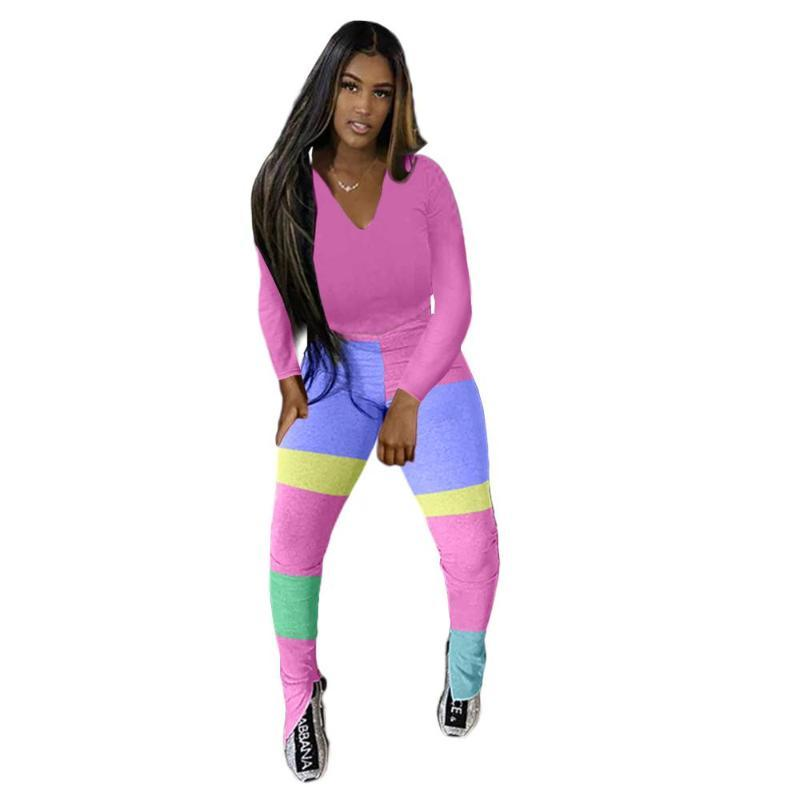 Color Block Patchwork Tracksuit Women Lounge wear Fitness Long Sleeve T Shirt Top with Slit Hem Flare Pants Two Piece Set Outfit