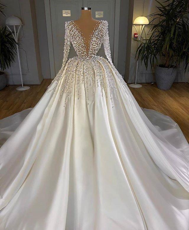 2020 Turkish Beaded Crystal White Satin Wedding Dresses Dubai Arabic Long Sleeve Bridal Gowns Bride Dress Middle East