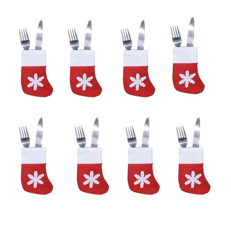 Mini Noel Çorap Kar Tasarım Noel Sevimli Ev Dekorasyon Noel Çorap Yılbaşı Hediyeleri Çanta Kaşık Çatal Çanta