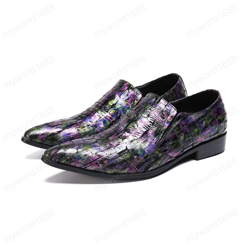 Большой размер Британский стиль Человек обувь Формальные Пром Man Real Leather Shoes Печать Остроконечные Toe Вечерняя обувь партии