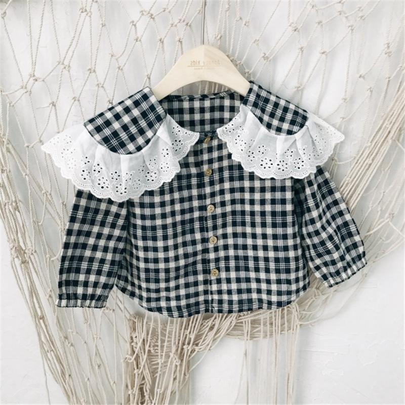 Sonbahar Uzun Kollu Pamuk Ekose Lady Kız Bluz Bebek Çocuk Moda Nedensel Yaka Üst Gömlek Çocuk Giyim Turn Down