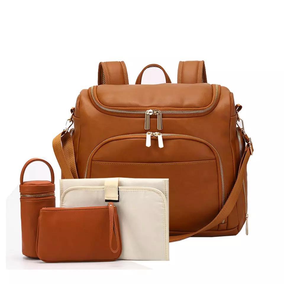 Tampon + Arabası sapanlar + Yalıtım çanta + Kozmetik çantası LJ200827 değiştirme PU Deri Bebek Nappy Bezi Çanta Sırt Çantası +