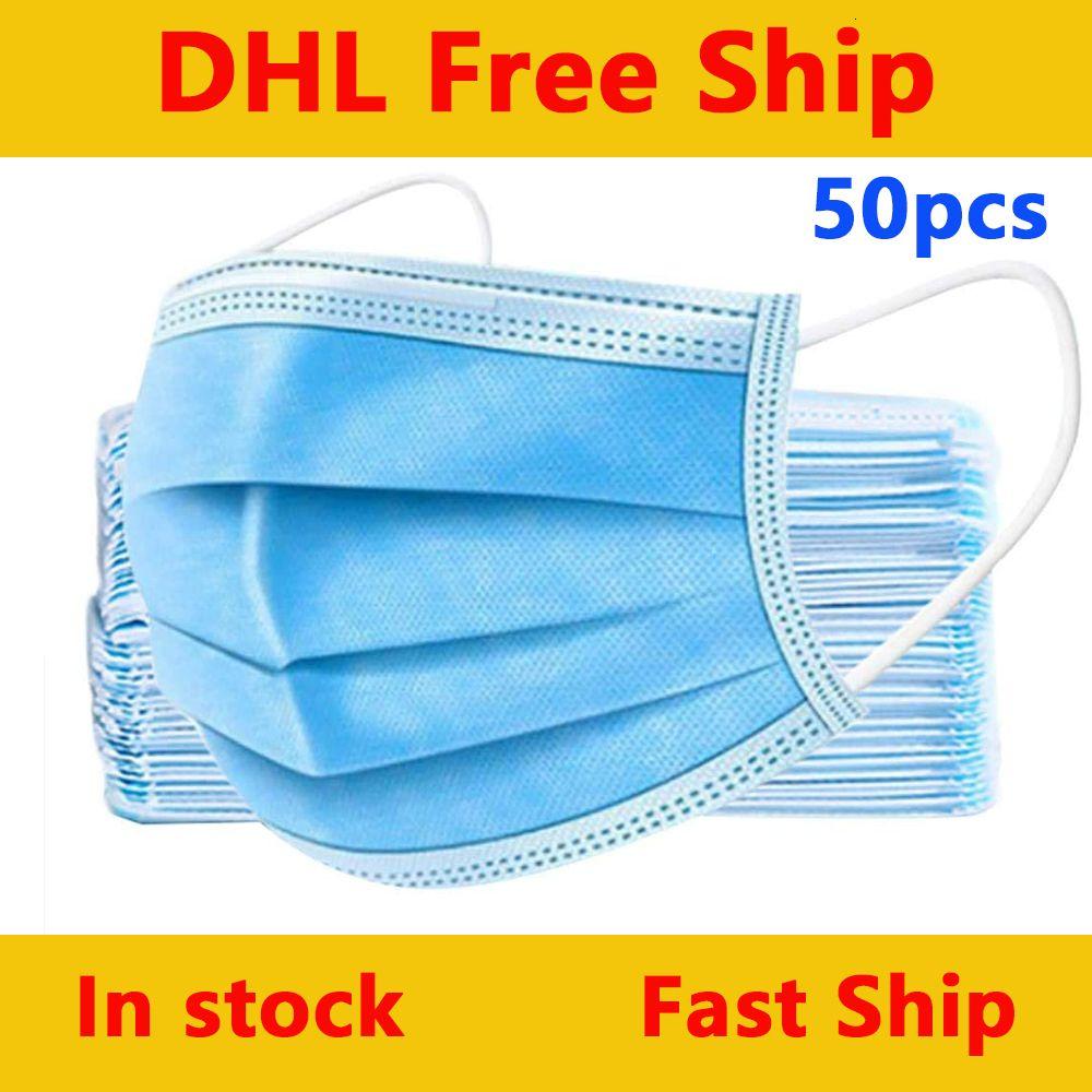 El envío libre, 50 paquetes de desechables de tres capas de soplado en fusión transpirable de protección a prueba de polvo masksHBB5