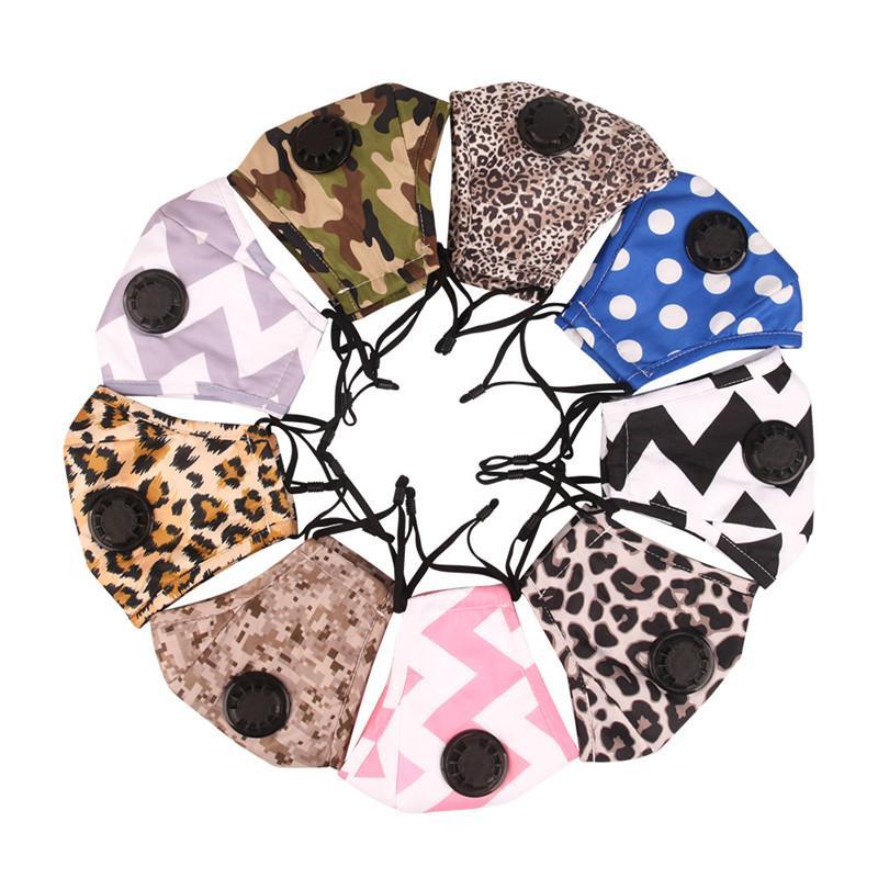 Взрослый РМ2,5 Фильтр для лица Маски Cotton пыл маска с Дыхательным клапана Leopard Камуфляж Anti-смога моющегося лицом Рот Обложка DHA934
