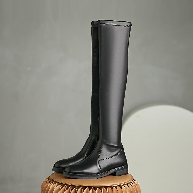 semplici popolari stivali elasticizzati leathe mista punta rotonda di spessore donne inverno tacchi autunno coscia solida calda sopra gli stivali alti al ginocchio