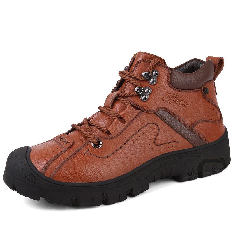 Cuero natural Botas Hombre hecho a mano de calidad superior de la plataforma de la nieve Botas de otoño al aire libre y los zapatos de los hombres de invierno para hombre