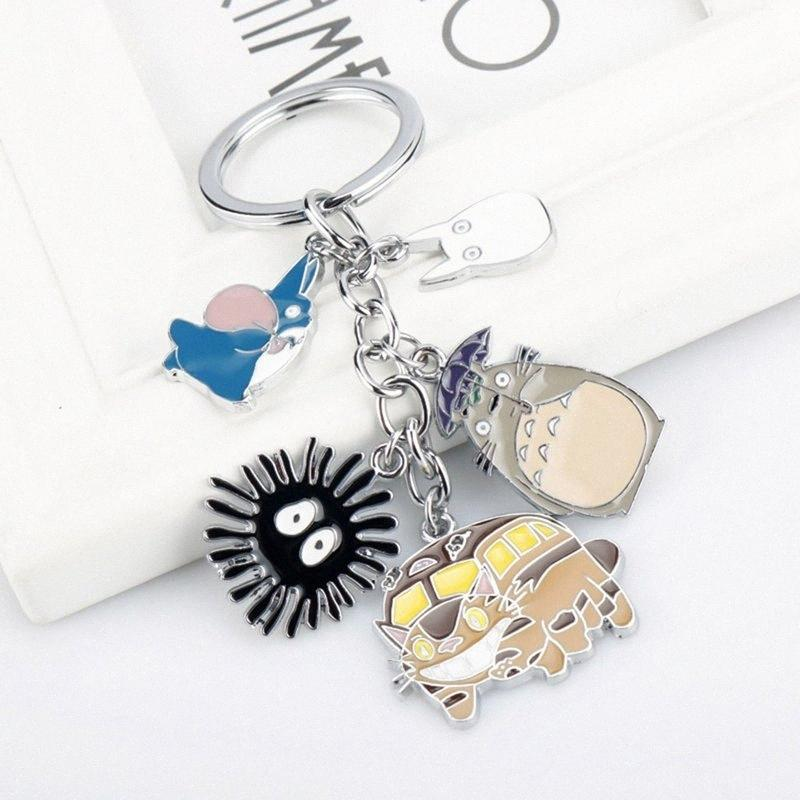 My Neighbor Totoro Keychain Metal Figures Pendants Doll Japanese Anime Key Rings Split Rings TbE5#