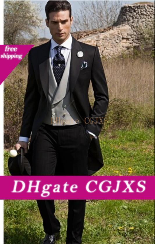 Custom Made Slim Fit Morning Style Groom Tuxedos Peak Lapel Men S Suit Groomsman /Best Man Wedding /Prom Suits (Jacket Pants Tie Vest )J990
