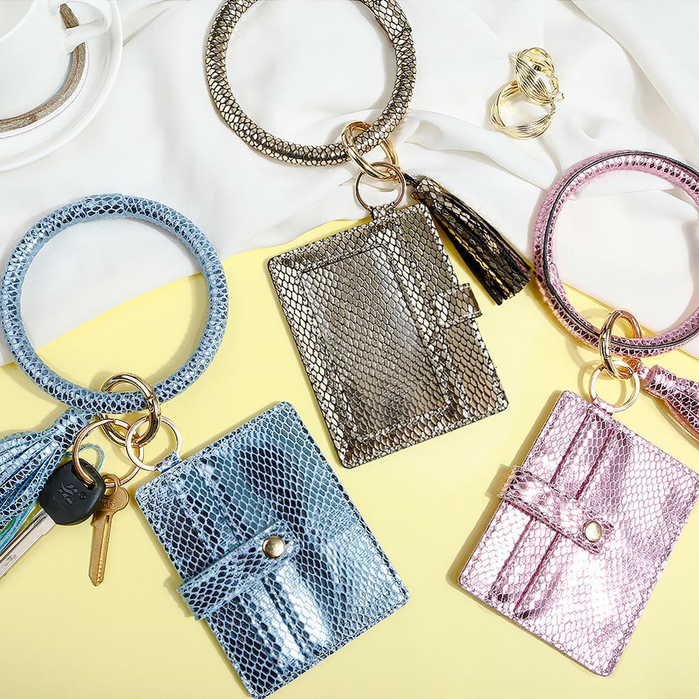 2020 Zubehör Leopard Armband Schlüsselanhänger Einkaufstasche Brieftasche Wristlet Quaste Leder Keychain Armreif Schlüsselanhänger Für Frauen