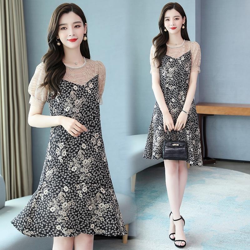 BYmnx MIUCO perles col rond perles coutures lâches faux chair couvrant la dentelle en dentelle robe imprimée en deux parties pour les femmes Xia Jixin 2020