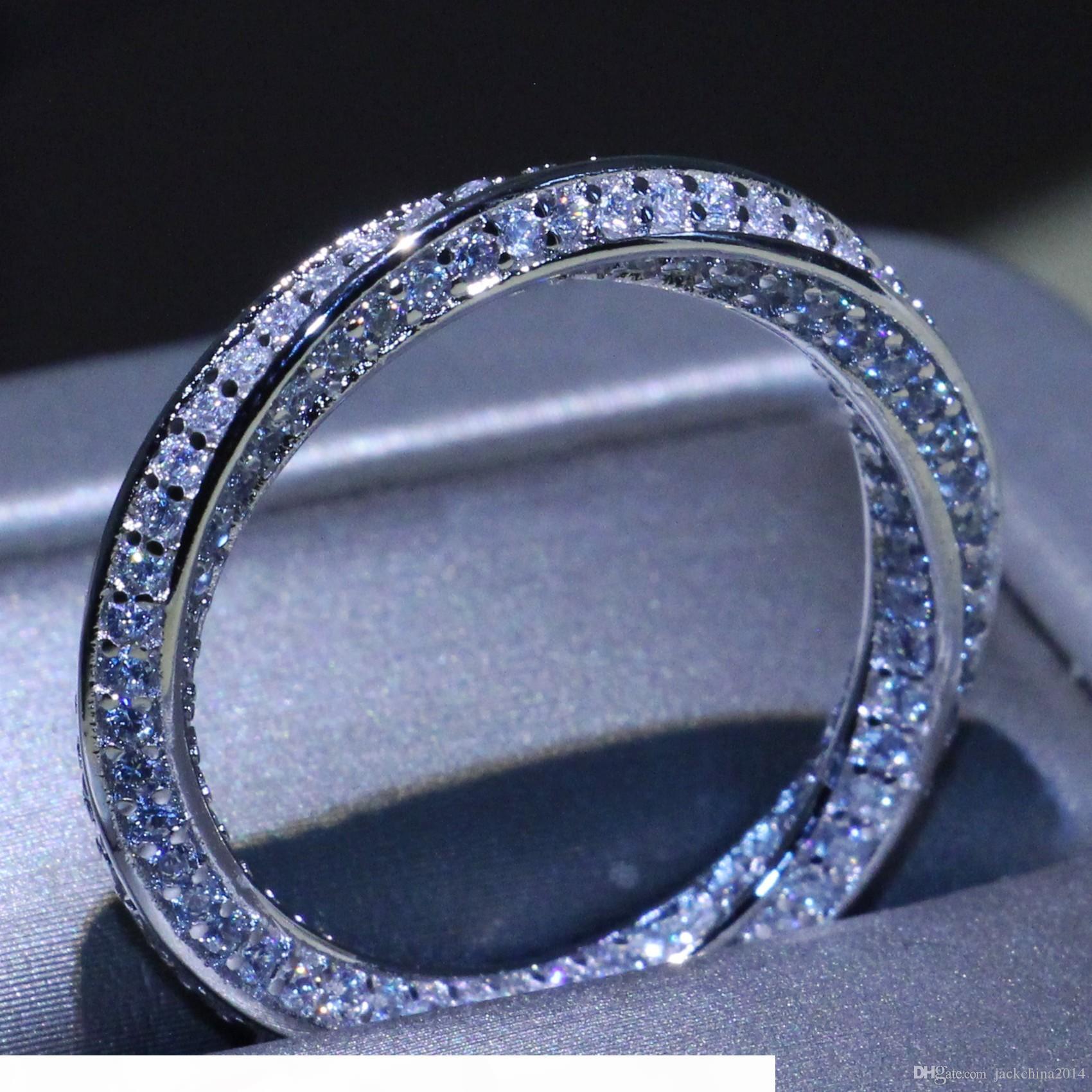 Toptan Çarpıcı Basit Çember Halka Lüks Takı Kadınlar Hediye için 925 Gümüş açacağı Mikro 5A Zirkonya cz Parti Mobius Düğün Rings