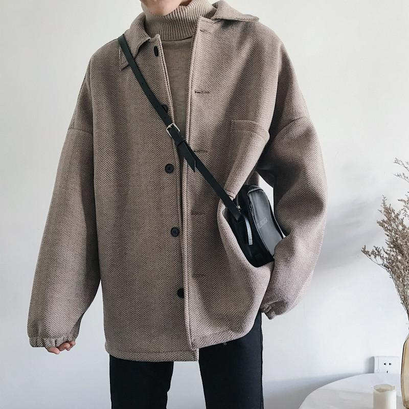 YASUGUOJI New 2020 Stilvolle Winterjacken-Mann-Mode-England-Art mit Fischgrätmuster Mann Mäntel lose Männer Mantel-Qualitäts
