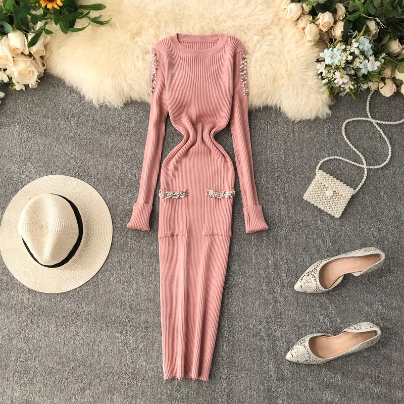 Amolapha Women Pearls Knit Dress Vestidos Long Sleeve Pockets Elegant Woman Solid Knitted Dresses Outfits T200810
