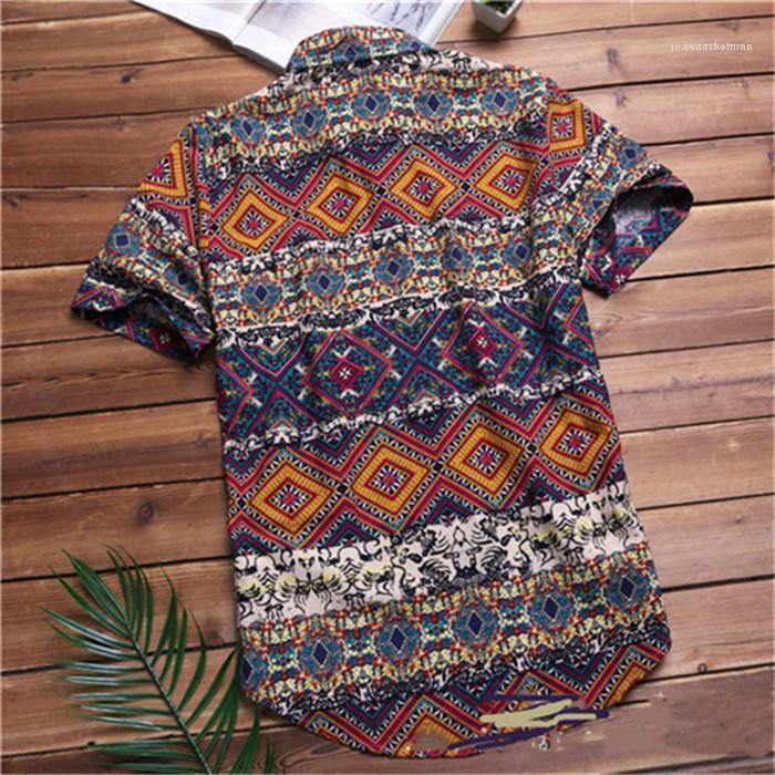Designer géométrique à manches courtes Pcocket coloré Casual Mode homme Vêtements de plage Hommes Vintage Hawaii été Chemises Homme