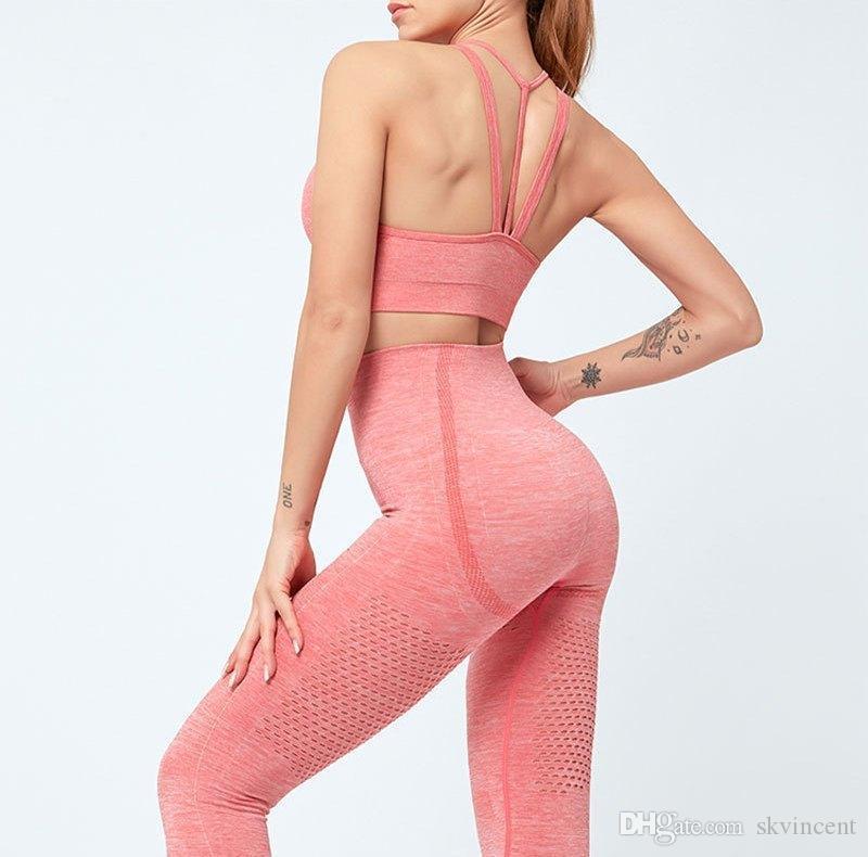 TrackSuits Senza cuciture Yoga Sport Abiti da donna Due pezzi 2 pezzi Bra Pantaloni da palestra Gym Leggings Gym Suit Fitness Set sportswear Tracksuit Outdoor Hollow Out Allinea Pant