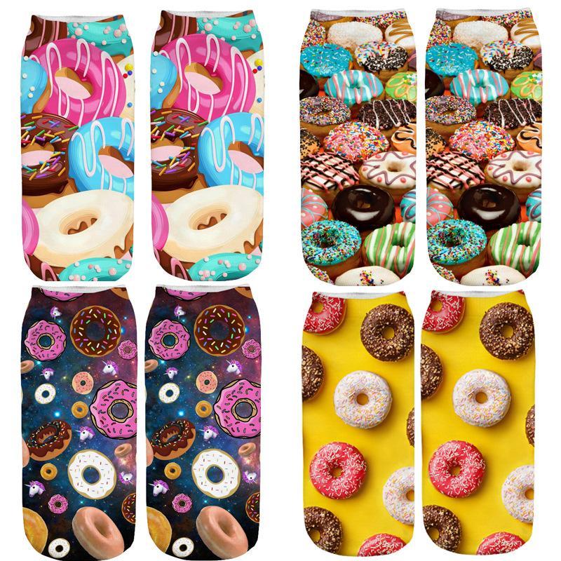 Gıda Donut Baskı Çorap Karikatür Stereoskopik Halhal Kadın Erkek Muz Desen Bobby Sox Yumuşak Polyester Elyaf Renkli 1 95ml C1