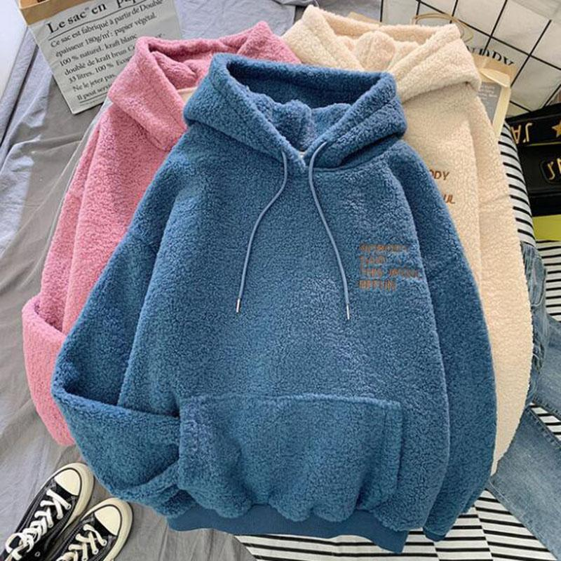 Autumn Winter Warm Hoodies Women Letter Embroidery Casual Loose Hooded Sweatshirt Plus Velvet Pocket Hoodies Solid Pullover Coat