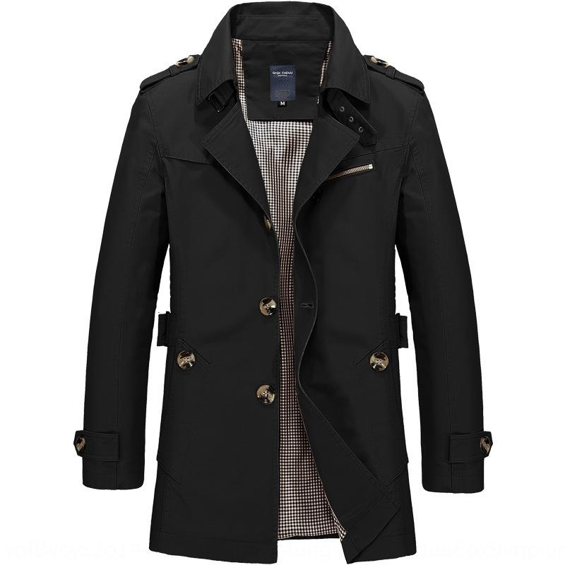 dXABC 2020 new jacket Windbreaker mid-length jacket large size cotton trench coat men's men's