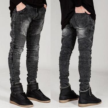 BbbMl BIKER marca alla moda pantaloni e jeans locomotiva locomotiva pantaloni slim fit ruga JEANS elastico a forma di caviglia