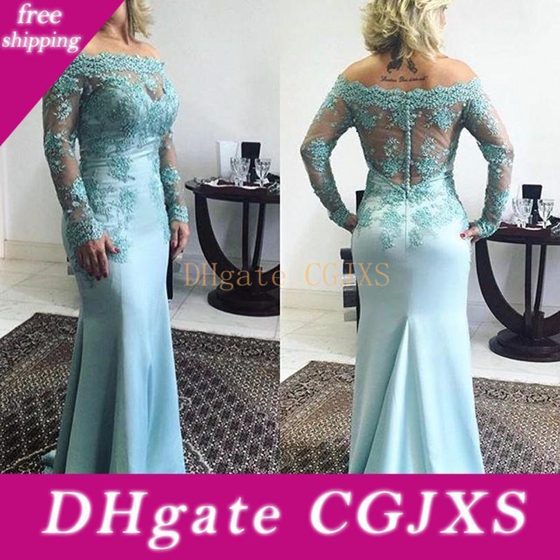 Weinlese-lange Ärmel Mutter der Braut Kleider 2018 Bateau Ausschnitt SpitzeApplique Buttons Zurück Mermaid Abendkleider