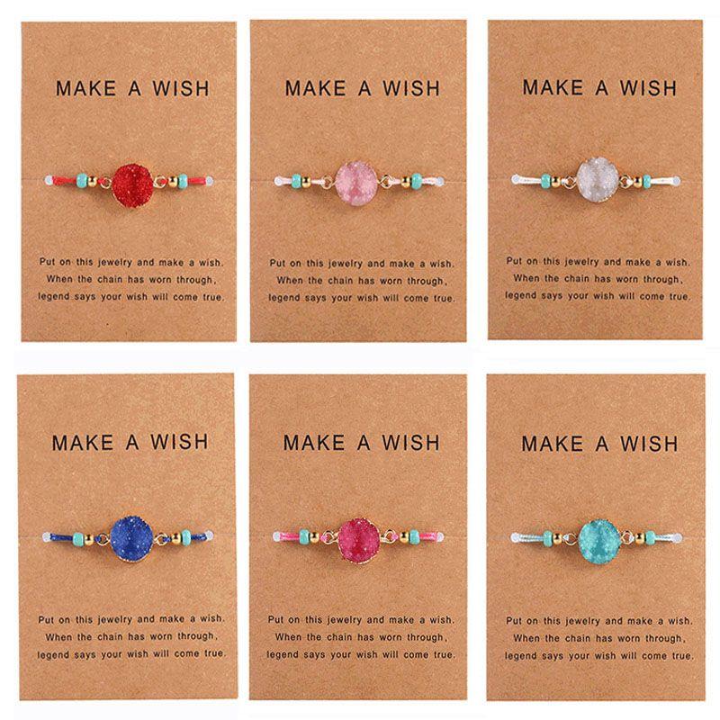 الأزياء Druzy الراتنج حجر سوار جعل حبل الرغبات بطاقة الشمع مجوهرات مزين أساور للمرأة الكورية هدية