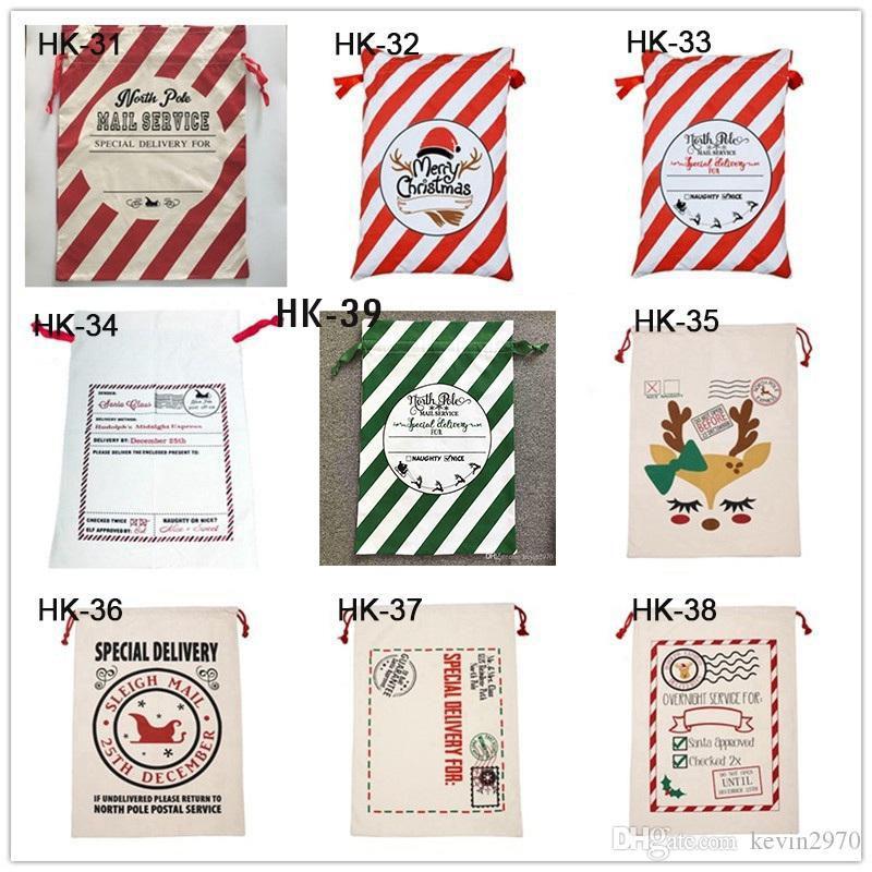 Bolsa de regalo de Navidad de Santa Claus bolsa grande Monogrammable lienzo lazo de Santa y los bolsos de Navidad la decoración del bolso 08 de la Navidad