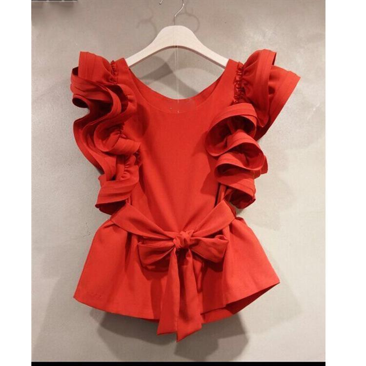 Neploe coreana riza Camisa dulce 2020 de primavera y verano blusa sin mangas sólido fajas cintura delgada Blusas Mujeres Tops 52755