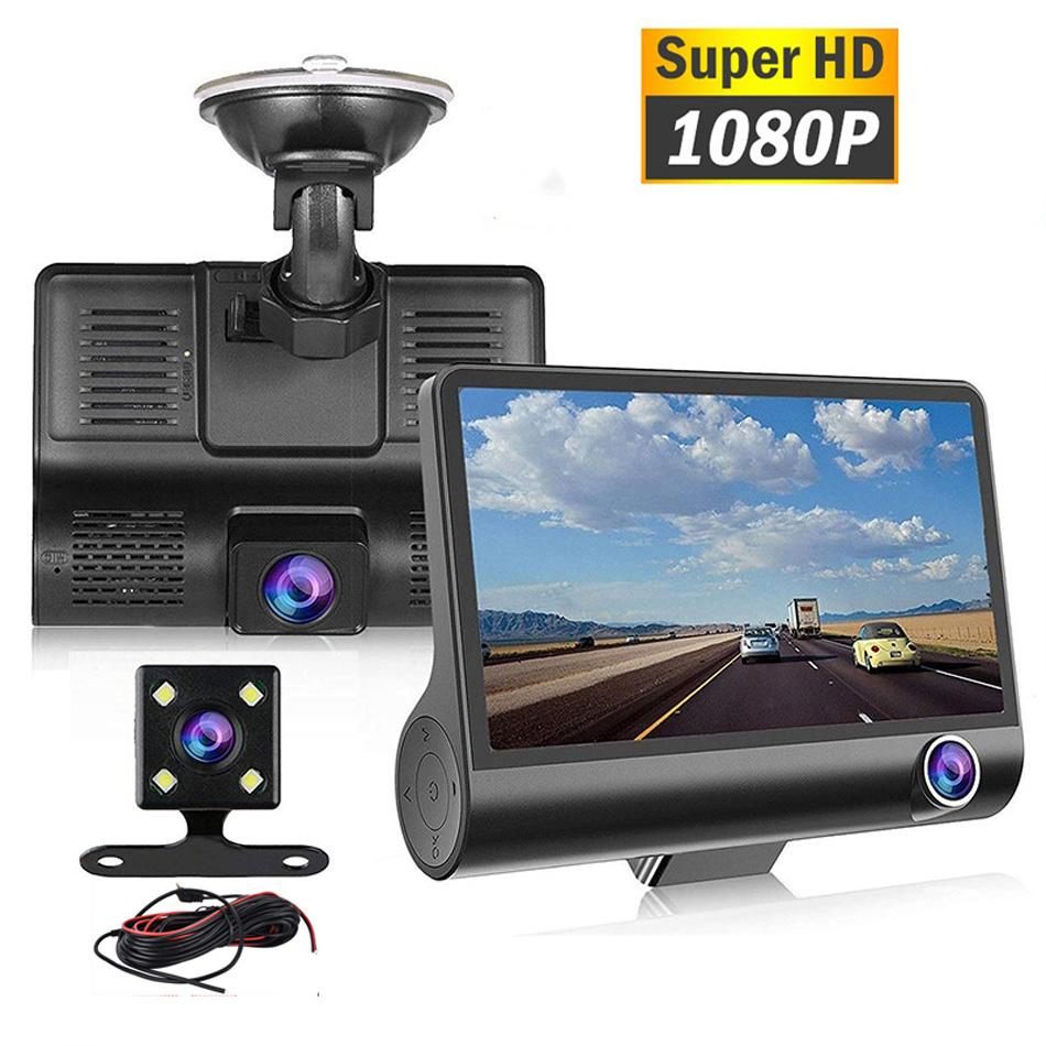 Car DVR Dual Camera 3 Lens 4.0 Inch HD 1080P 3 way With Rear Rearview Cameras Video Recorder