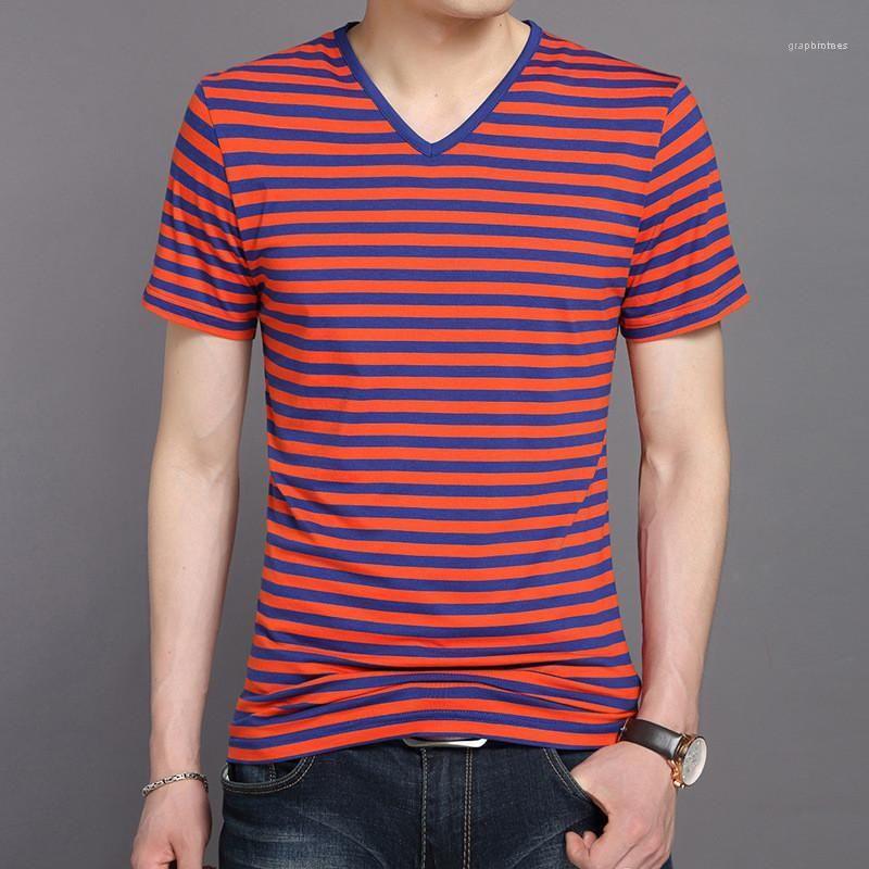 Luva de Slim Mens Tops Casual colorido Designer Male Tees listrado dos homens T-shirts Verão V pescoço curto