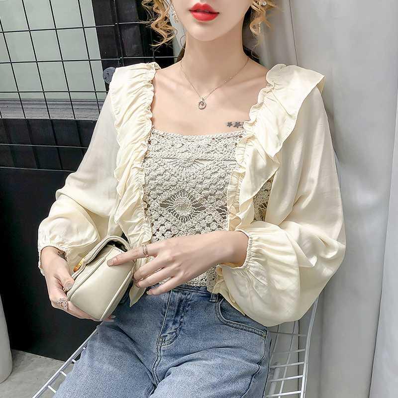 2020 Sonbahar Yeni Beyaz şifon Bluz Kare yaka Hollow üzerinden Dikiş karıştırdı uzun Kadınlar dantel gömlek kollu Tops