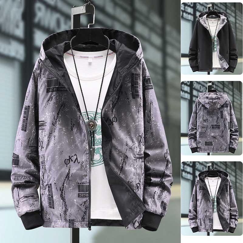 2020 Autumn New Men's Wear on Both Sides Jackets Couple Hooded Windbreaker Jacket Fashion Outdoor Casual Sport Jackets Plus Size M-7XL