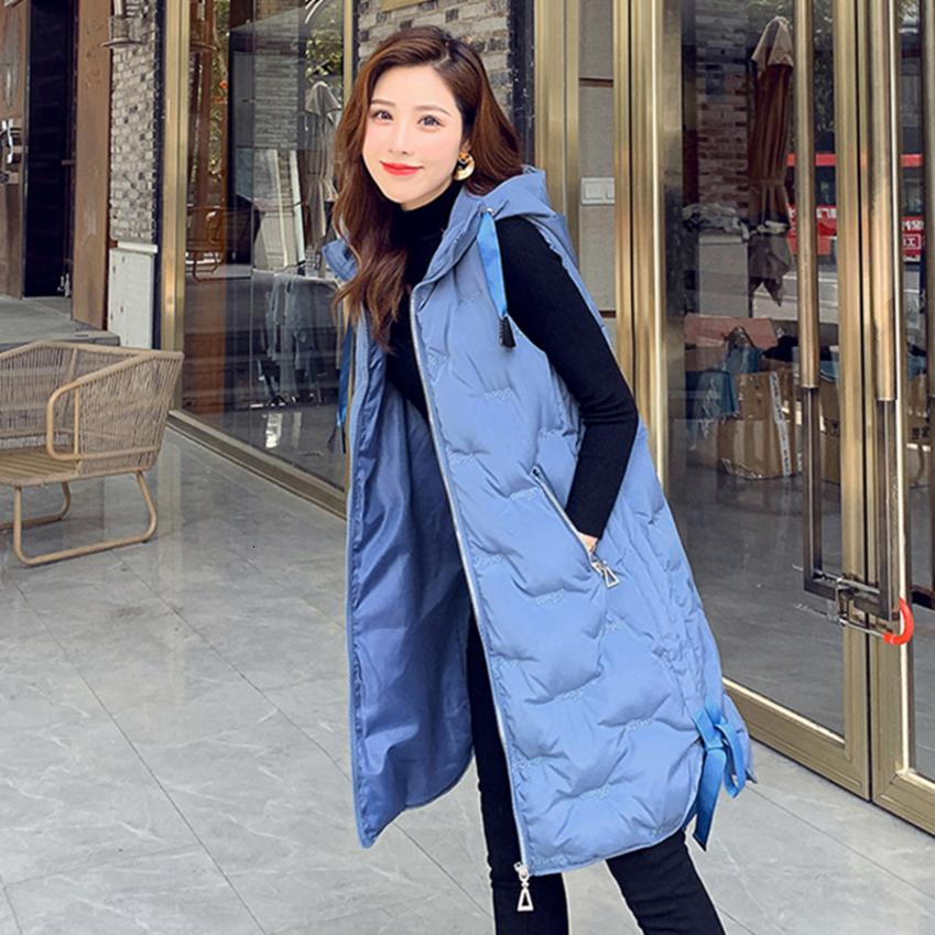 2020 beiläufige Frauen-Winter-lange Weste Plus Size Herbst mit Kapuze Weste Cotton Padded Fest Outwear Weste Thick Westen