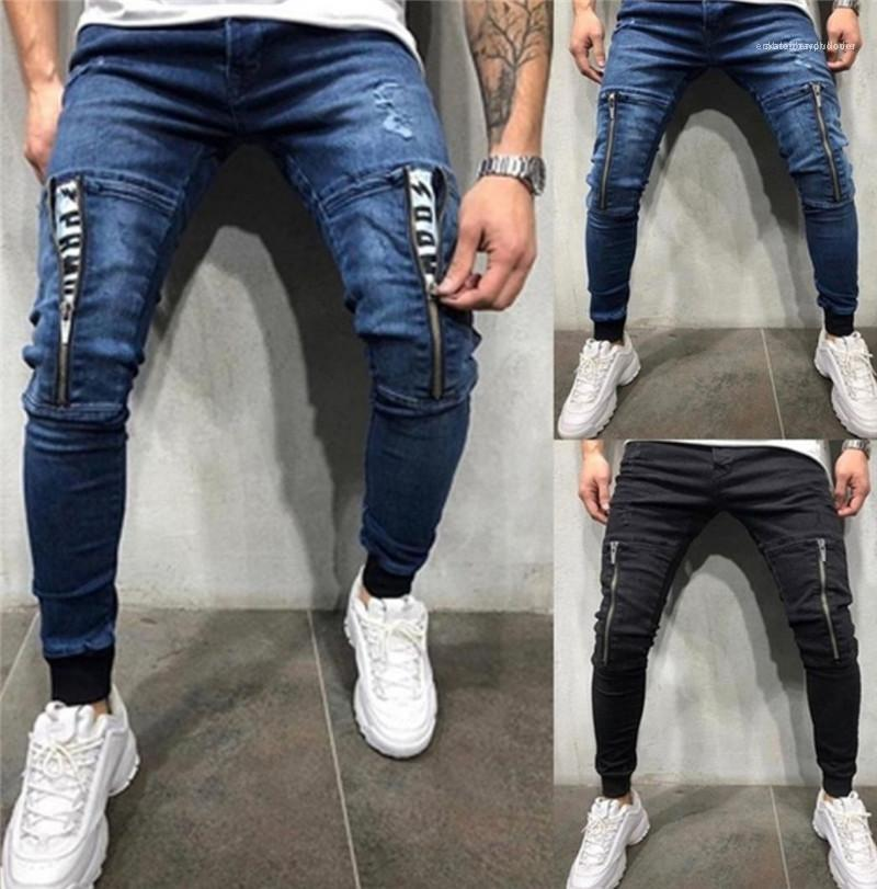 Moda Ripped Wahsed Skinny Bilek Bantlı Kalem Pantolon Sokak Stili Erkek Jean Pantolon Erkek Fermuar Tasarım Jeans