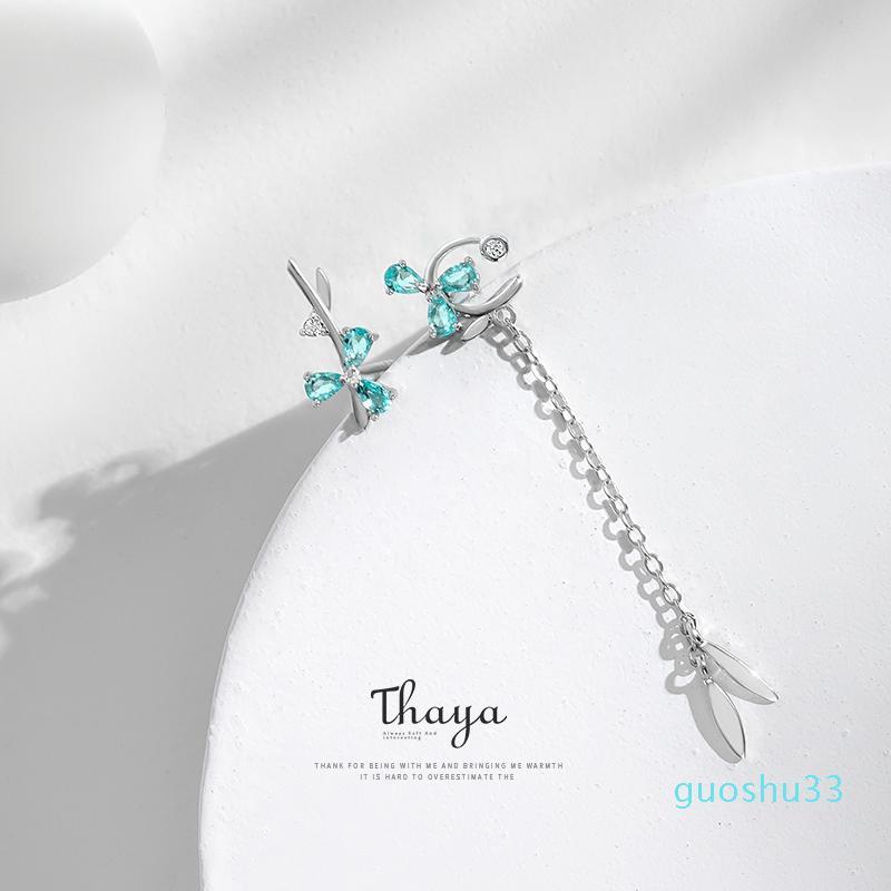Monili caldi di vendita Thaya Asimmetria Blu Petalo 925 orecchini d'argento orecchini di dichiarazione per le donne Original Fine Jewelry