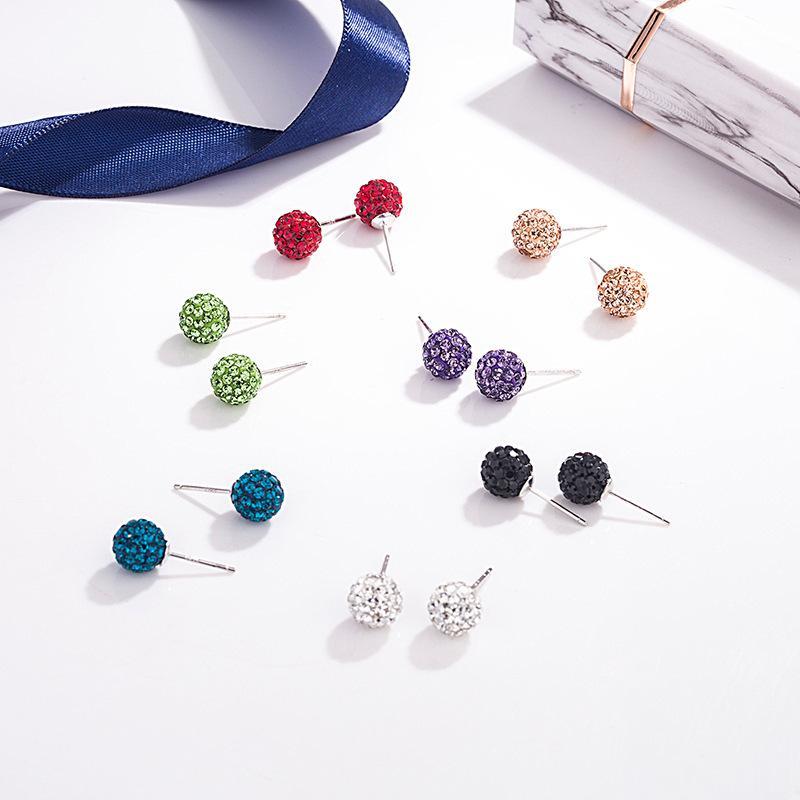 S925 sterling silver full diamond ball earrings women's full diamond ball soft clay ball earrings hypoallergenic S925 silver earrings
