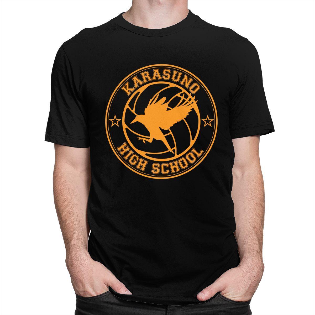 Мужской мода Karasuno High School T Shirt Mens короткие рукава Crewneck хлопок футболка отдых Haikyuu бокуто Oya Аниме Tee Tops