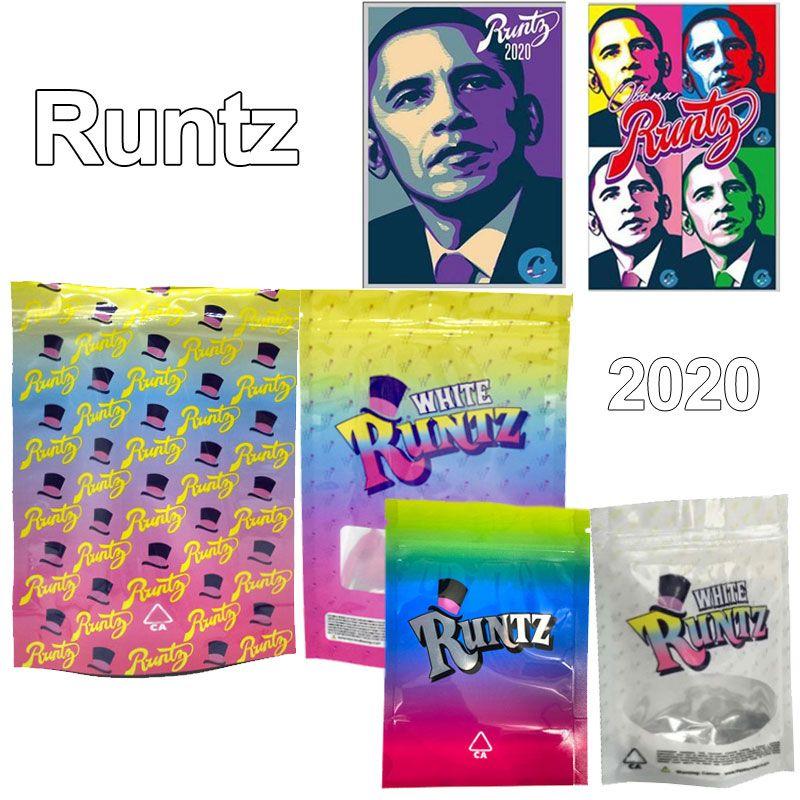 2020 Sacs de mylar en runtz blanc 420 Herbe sèche fleur d'emballage en plastique sacs de mylar emballage 3.5 sacs Souce d'odorat Scellé Edibles Baggies Obama