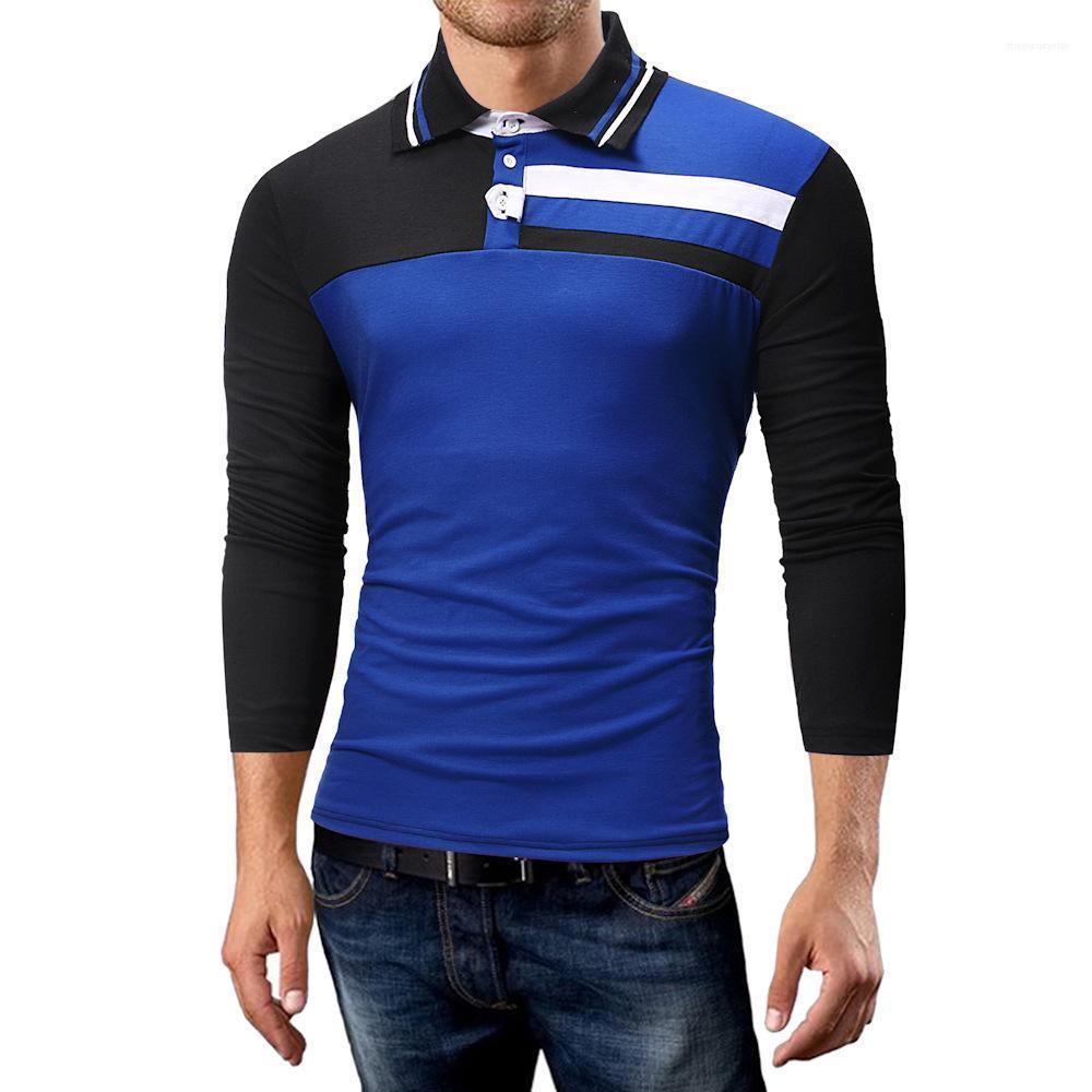 Tişört Günlük Uzun Kollu Slim Fit Polos Erkek İlkbahar Moda Top Erkek Yaka Dikiş