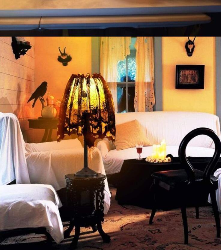 Halloween Lampenschirm Abdeckung Schwarz-Spitze-Band-Spinnen-Netz Lampshades Kamin Abdeckung Widonw Decaration Partei Innendekor-Supplies DHC1497