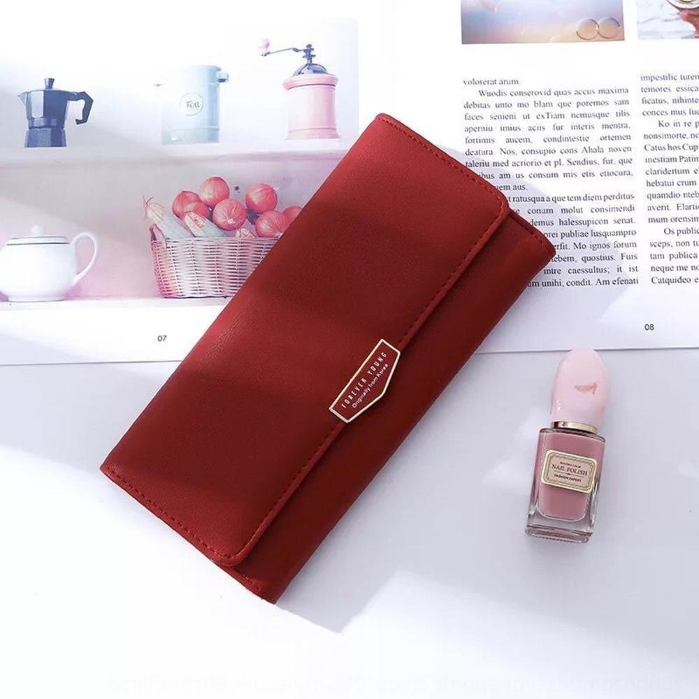 Новый корейский стиль бумажник женщин длинные руки бумажник день моды простой сплошной цвет мульти-карты большой емкости женщин мешка u4BSp
