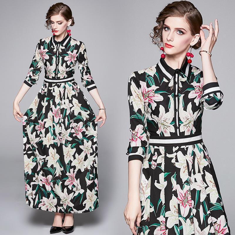 2020 Top nuova pista floreale stampato maxi abito moda femminile casuale elegante signore ufficio del manicotto lungo del risvolto sexy veste più il formato partito