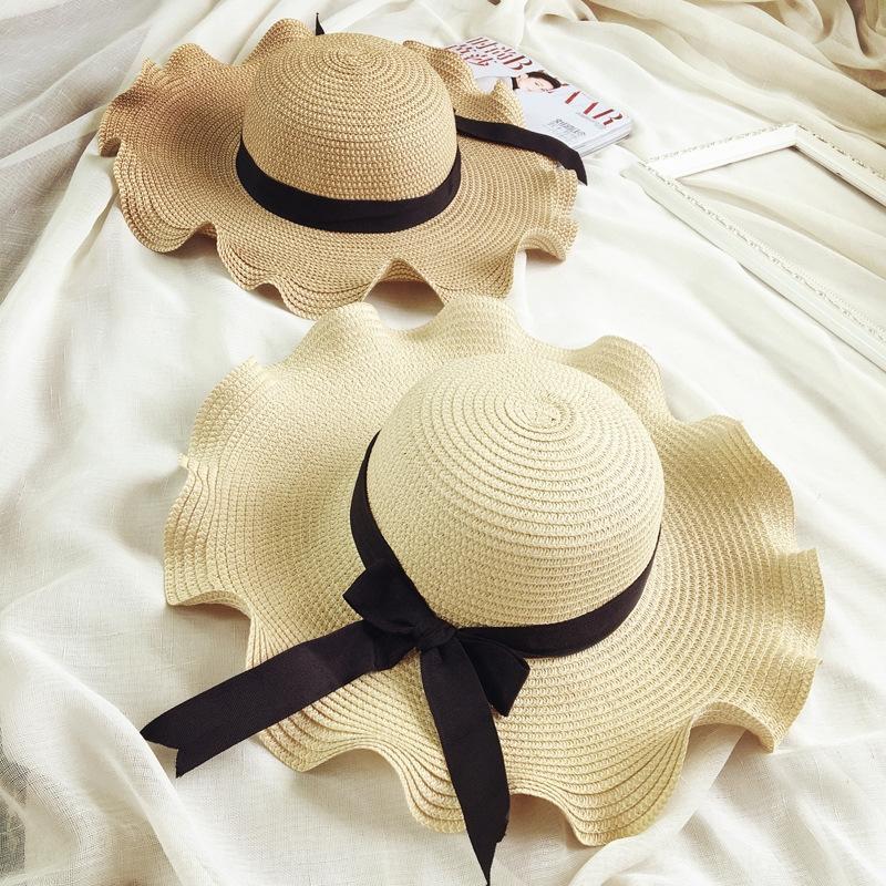 wkBgF pruva saman plaj Koreli dalgalı kenar moda stil güneş hasır Kelebek Seyahat şapka moda güneş şapkası kadın yaz