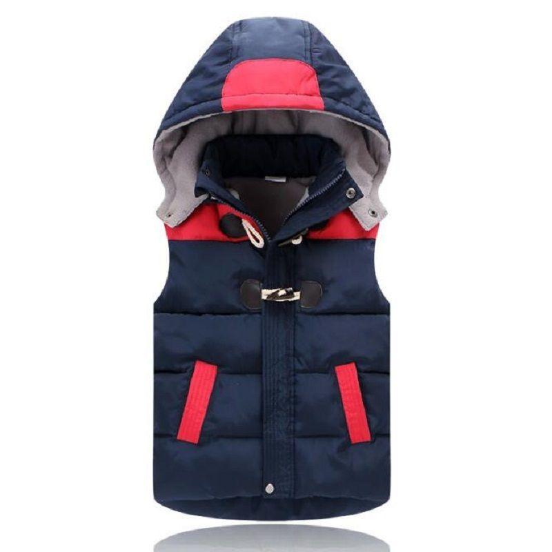 Chalecos de los niños sudaderas con capucha chaqueta caliente de los bebés Ropa de abrigo abrigos para niños Chaleco Niños chaquetas con capucha de Otoño Invierno Espesar Chalecos LJ200814