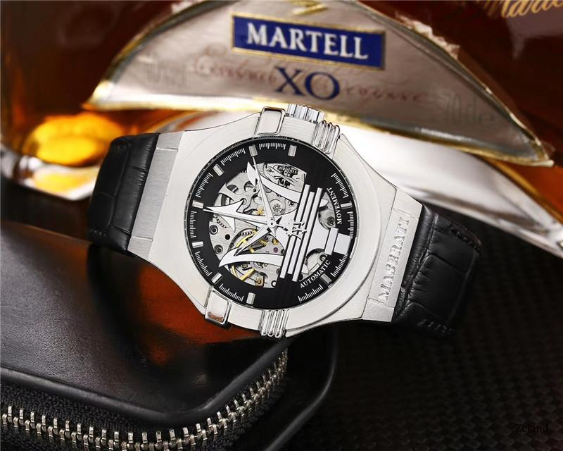 de acero inoxidable reloj deportivo de la marca de moda ocasionales reloj mecánico de los nuevos hombres de la moda de lujo