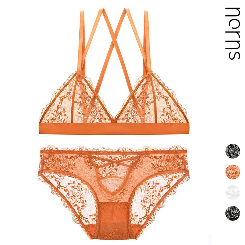 Norns French Sexy Triangle Cup Sexy Slim No-rim Underwear Hollow Lace Breathable Bra Set