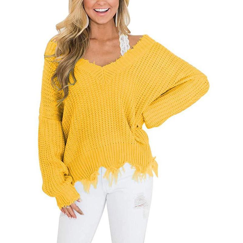 Женские свитеры плюс размер офиса на плечо осенний свитер для женщин бахрома вязаные вязаные женские топы 2021 с длинным рукавом пуловер