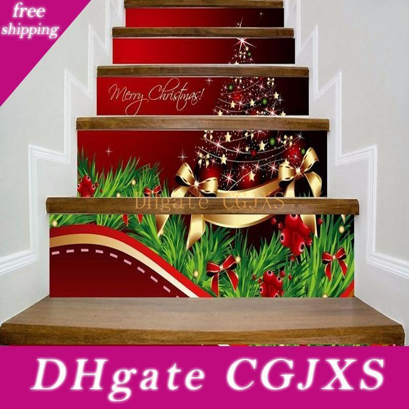 Merry Christmas Stairway Decals Quotes Gold Stars Balls Bowknots Xmas Tree Stairs Sticker Decoration Home Pvc Art Murals For Staircase