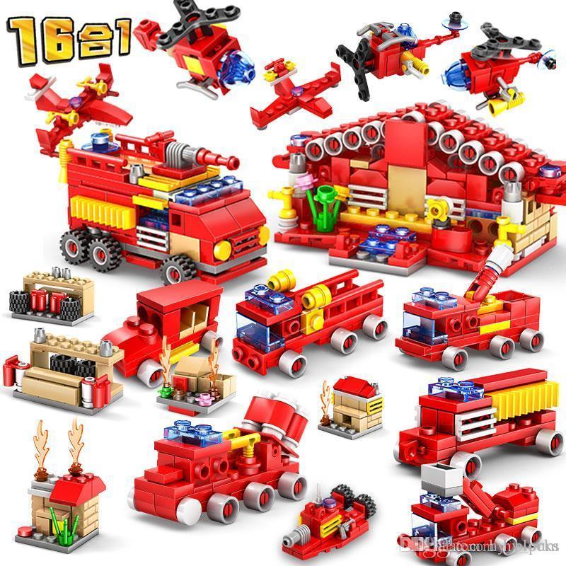 Город перестрелка Engine Building Blocks Наборы Кирпичей Пожарных Пожарная машина автомобили DIY Цифра модель образование Kit Детские игрушек 02