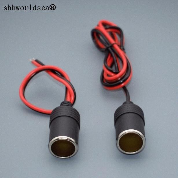 shhworldsea de câble allume-cigare de voiture Chargeur Socle femelle Adaptateur Connecteur prise avec 25cm ou 100cm (1M) fil V0l9 #